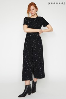 Warehouse Black Estella Star Print Jumpsuit