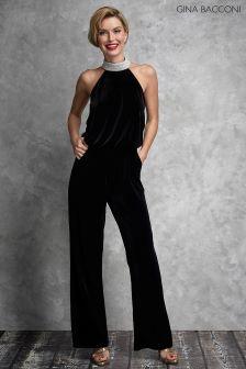 Gina Bacconi Black Jovanna Velvet Jumpsuit