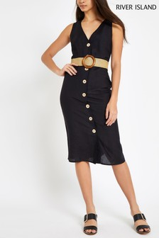 River Island Black Button Down Belted Dress