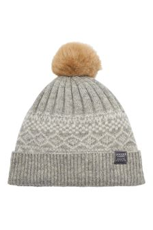 Joules Light Grey Fairisle Pattern Knitted Bobble Hat
