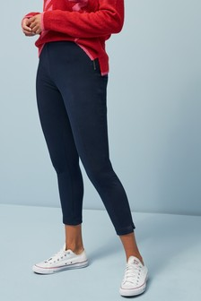 Side Zipped Jersey Denim Leggings