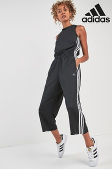 adidas Black 3 Stripe Snap Romper