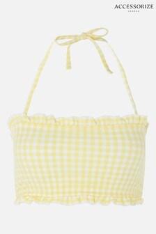 Accessorize Yellow Gingham Bandeau Bikini Top