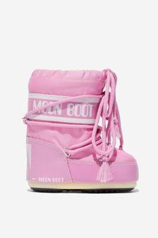 Moonboots Girls Pink Nylon Snow Boots
