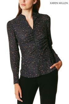 Karen Millen Black Conversational Star Print Shirt Collection