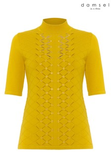 Damsel In A Dress Yellow Leona Eyelet Detail Knitted Top