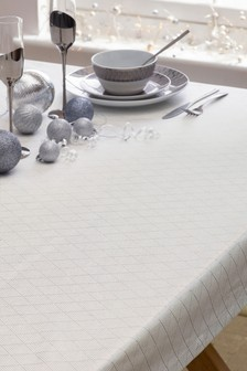 Silver Geometric Tablecloth