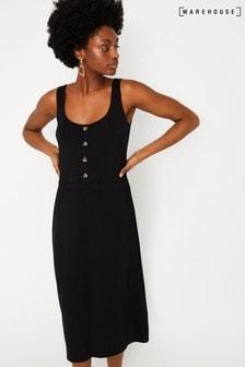 a4e9e32dcf93 Warehouse Black Button Through Cami Midi Dress