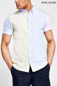River Island Yellow Short Sleeve Colourblock Shirt