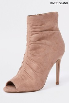 River Island Nude Open Toe Heel Boot