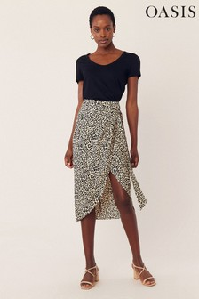 Oasis Animal Leopard Wrap Midi Skirt