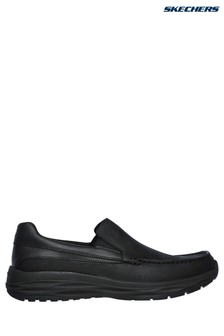 Skechers® Black Leather Moc Toe Slip-On
