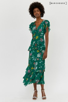 Warehouse Green Floral Tiered Ruffle Maxi Dress