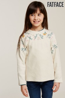 FatFace Natural Button Back Embroidered Sweat