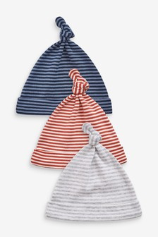 3 Pack Stripe Tie Top Hats (0-18mths)