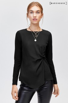 Warehouse Black Long Sleeve Twist Front Woven Mix Top