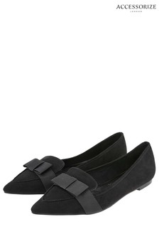 Accessorize Black Bow Pointed Chelsea Loafer