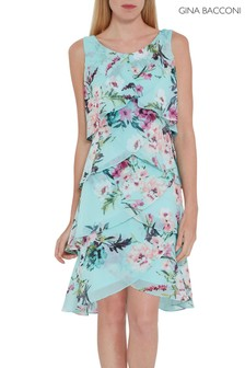 Gina Bacconi Blue Ondria Floral Tiered Chiffon Dress