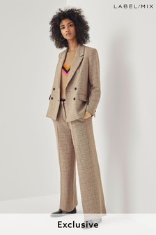 Next/Mix Check Wide Leg Trousers