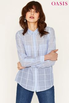 Oasis Blue Long Sleeve Soft Check Shirt