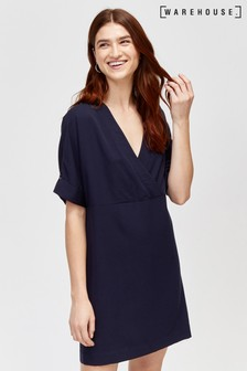 Warehouse Blue Wrap Tencel® Shift Dress