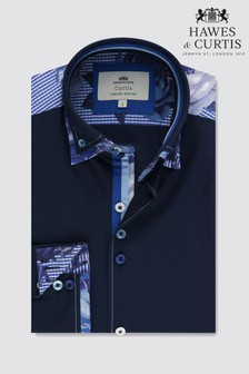 Hawes & Curtis Blue High Collar With Floral Detail Shirt