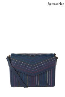 Accessorize Navy Rainbow Stitch Cross Body Bag