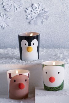 Set of 3 Christmas Character Candles
