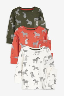3 Pack Zebra Print Snuggle Fit Pyjamas (9mths-8yrs)