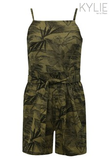 Kylie Green Tropical Paperbag Waist Playsuit