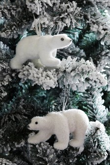 Set of 2 Polar Bear Baubles