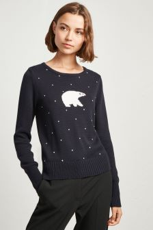 French Connection Blue Polar Bear Jumper