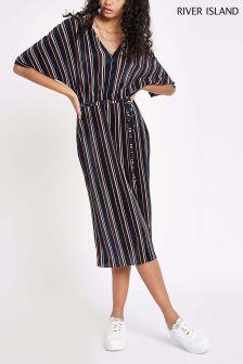 River Island Stripe Plisse Wide Sleeve Dress