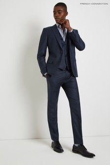 French Connection Slim Fit Blue Puppytooth Trouser