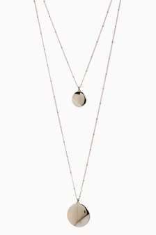 Two Layer Mother Of Pearl Detail Disc Necklace
