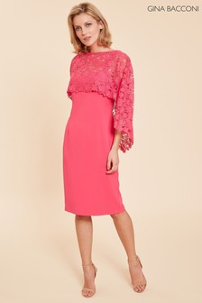 Gina Bacconi Pink Catriona Crepe Dress With Lace Overcape