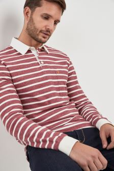 Farah Japanese Red Temple Stripe Rugby Top