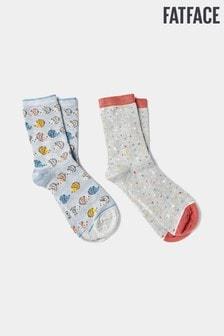 FatFace Blue Hedgehog Bamboo Socks Two Pack