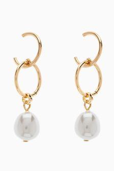 Double Circle Pearl Effect Hoop Earrings