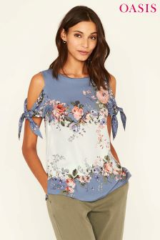 Oasis Blue Provence Placement Cold Shoulder Top