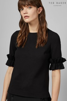 be0789062ce87 Ted Baker Black Kaylle Ruffled Short Sleeve Top