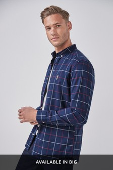 Check Long Sleeve Stretch Oxford Shirt