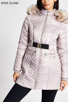 River Island Pink Longline Satin Belted Coat