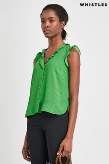 Whistles Green Frill Top
