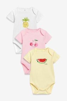 水果圖案短袖緊身衣三件裝 (0個月至2歲)