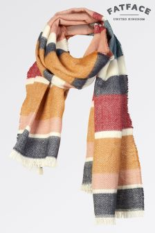 FatFace Ivory Brushed Stripe Scarf
