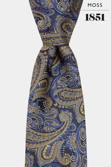 Moss 1851 Navy/Gold Paisley Tie