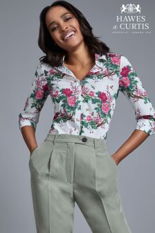 Hawes And Curtis White Semi Fitted 3/4 Sleeve Flower And Dragonfly Print Shirt