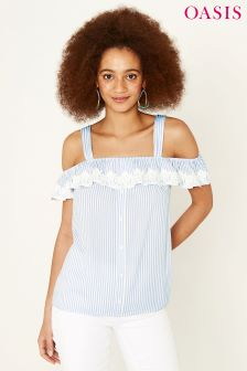 Oasis Blue Ticking Stripe Lace Trim Bardot Cami