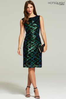 edfdffbd HotSquash Green Zig-Zags Sleeveless Sequin Dress